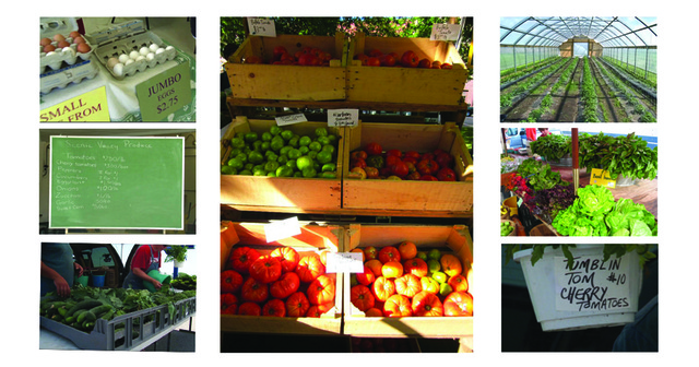 collage of farm market stands