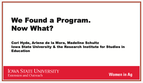 """Title slide of presentation """"We Found a Program. Now What?"""""""